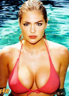 Кейт Аптон в прозрачном мокром топе в журнале GQ фото #3