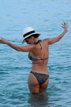 Голый сосок Николь Шерзингер на пляже в Миконосе фото #1