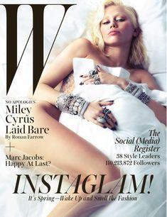Майли Сайрус обнажила грудь  в журнале W фото #1