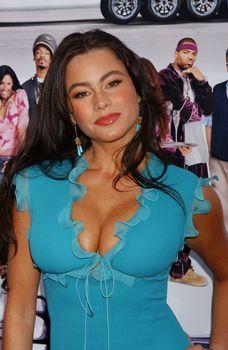 София Вергара в наряде с аппетитным декольте на премьере «Улётный транспорт» в Голливуде фото #1