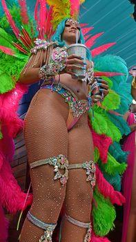 Откровенные декольте Рианны на карнавале в Барбадосе фото #17