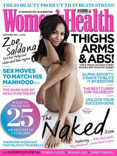 Полностью обнажённая Зои Салдана в британском журнале Women's Health фото #1