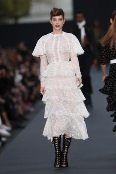 Голая грудь Барбары Палвин сквозь прозрачное платье на Runway Show в Париже фото #3