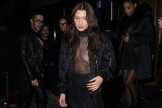 Красавица Белла Хадид засветила грудь сквозь прозрачный наряд в Париже фото #10
