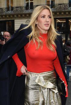 Возбуждённые соски Элли Голдинг сквозь наряд на шоу Стеллы МакКартни в Париже фото #6