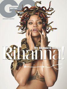 Секси Рианна со змеейм на обнаженном теле для журнала GQ фото #1