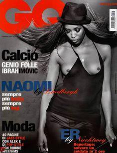 Голая грудь Наоми Кэмпбелл в журнале GQ фото #1