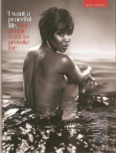 Упругая маленькая грудь Наоми Кэмпбелл для журнала GQ фото #1