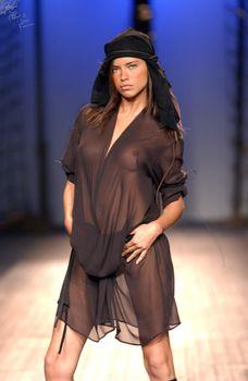 Сексуальная Адриана Лима в прозрачном платье на подиуме фото #1