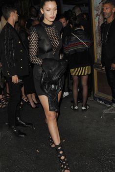Возбуждённые соски Беллы Хадид на Balmain Fashion Show After-party in Paris, 2015