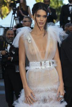 Голая грудь Кендалл Дженнер в абсолютно прозрачном наряде на Каннском кинофестивале, 2018
