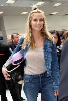 Хайди Клум без лифчика в аэропорте Франции, 13.05.2016
